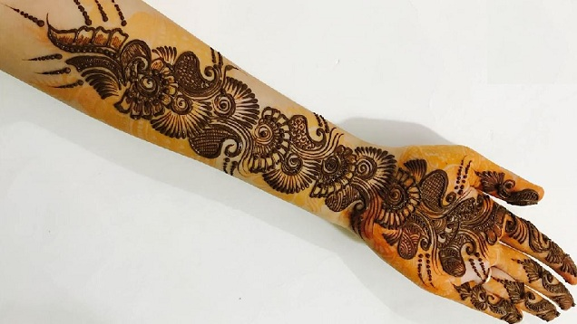 Mehndi Art Step By Step : Beautiful henna mehndi design for hand step by